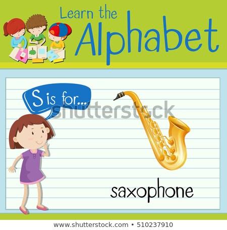 List saksofon ilustracja muzyki tle sztuki Zdjęcia stock © bluering