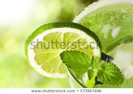 Mojito közelkép citrus üveg jég gyümölcs Stock fotó © gorgev