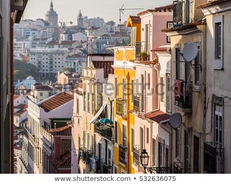 Lisbonne rue Portugal typique centre-ville coucher du soleil Photo stock © joyr