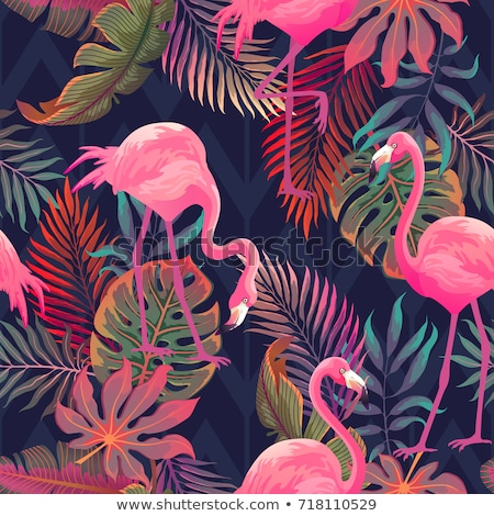 Summer paradise design of flamingo and palm tree Stock photo © cienpies