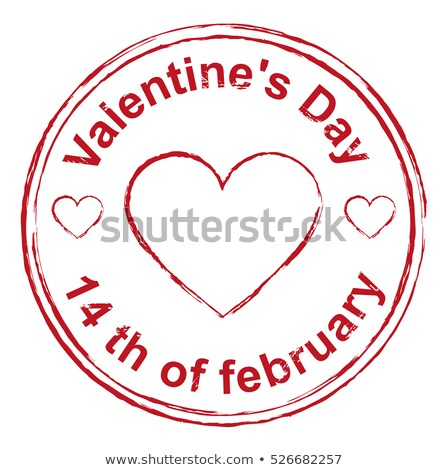 14th February Valentines Day. Red stamp imprint heart shape Stock photo © orensila