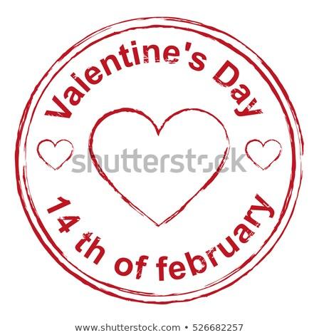 14 · valentin · nap · piros · bélyeg · lenyomat · szív · alak - stock fotó © orensila