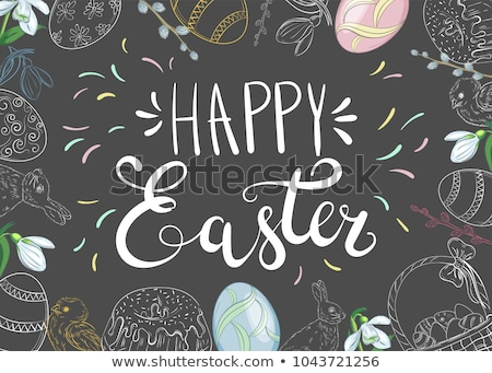 blue background with happy easter lettering and rabbit eggs Stock photo © SArts