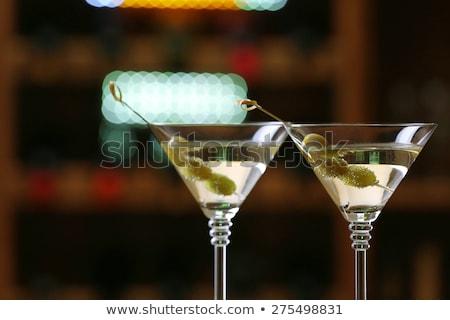 Dos gafas martini rojo cerezas beber Foto stock © alex_l