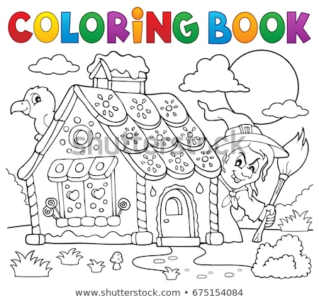 coloring book witch crow theme stock photo © clairev