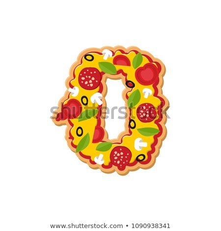 Number 0 pizza font. Italian meal alphabet numeral zero. Lettrin Stock photo © popaukropa