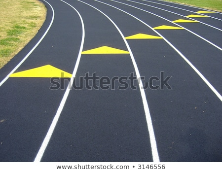 track and field sprinter on starting point at cinder track in sp stock photo © kzenon