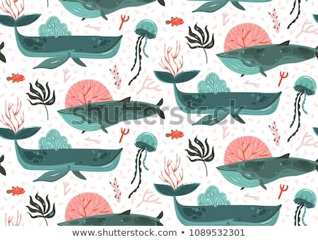 Balina deniz çocuklar güneş arka plan kumaş Stok fotoğraf © Olena