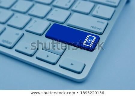Billentyűzet kék numerikus billentyűzet óra online írott Stock fotó © tashatuvango