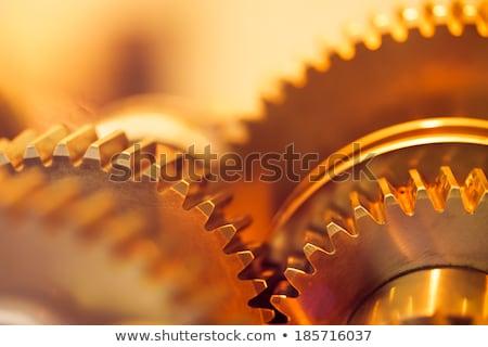 industrial engineering concept golden gears stock photo © tashatuvango