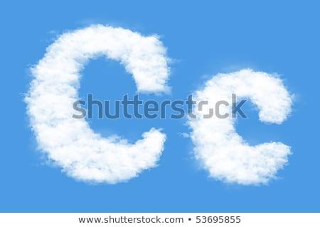 Letter C cloud font symbol. White Alphabet sign on blue sky Stock photo © popaukropa