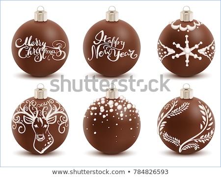 Ayarlamak kahverengi çikolata Noel top tatlı Stok fotoğraf © orensila