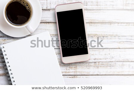 Open · notebook · houten · tafel · telefoon · christmas · decoraties - stockfoto © neirfy