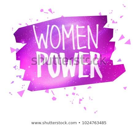 Mulheres poder feminista caneta slogan bandeira Foto stock © Sonya_illustrations
