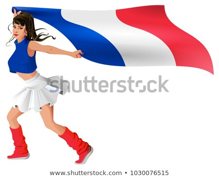 Beautiful young woman in sport uniform holds flag of france Stock photo © orensila