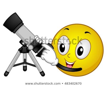 Emoticon astronomia telescópio cara ciência estudar Foto stock © lenm