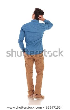 назад · задумчивый · случайный · человека · вид · сзади · молодые - Сток-фото © feedough