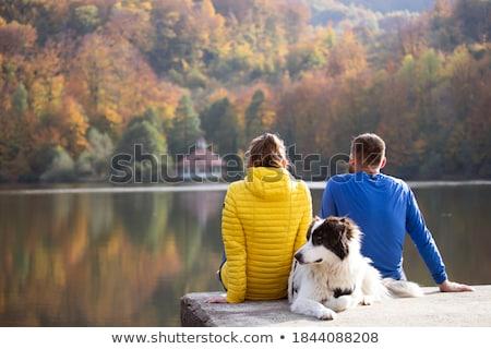 Para relaks dok jezioro kobieta miłości Zdjęcia stock © IS2