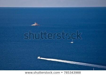 mulo lighthouse on open sea in rogoznica archiprelago aerial vie stock photo © xbrchx