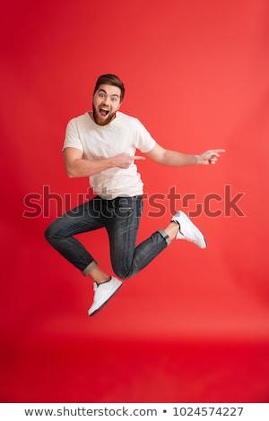 menino · saltando · branco · ilustração · homem · feliz - foto stock © bluering