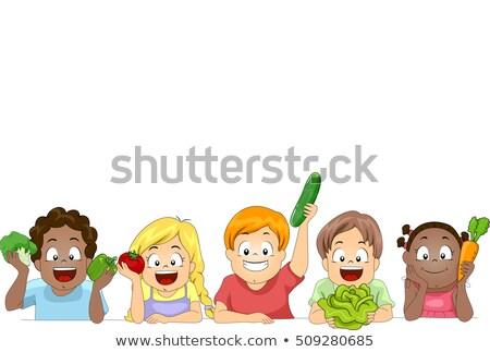 Diverso crianças legumes fronteira ilustração grupo Foto stock © lenm