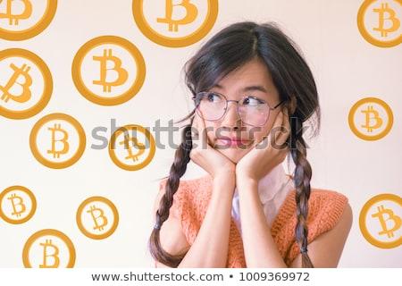 Denken bitcoin hoofd silhouet goud teken Stockfoto © Krisdog