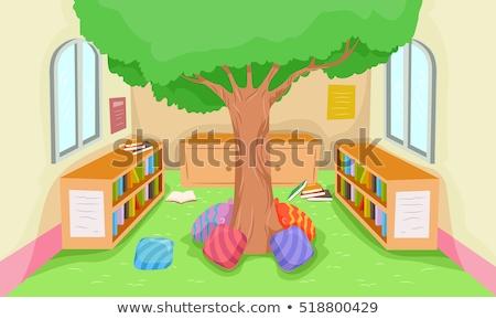 Modern könyvtár játszik illusztráció belső fa Stock fotó © lenm
