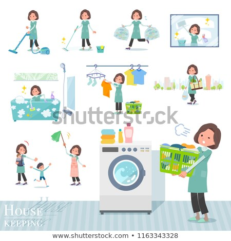 Blue-green tunic Middle women_Housekeeping Stock photo © toyotoyo