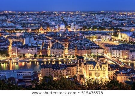 Kilátás Lyon éjszaka Franciaország Európa város Stock fotó © vwalakte
