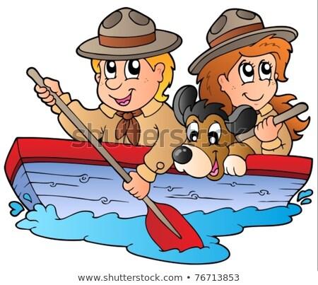 Fiú lány felderítő fából készült csónak illusztráció Stock fotó © bluering