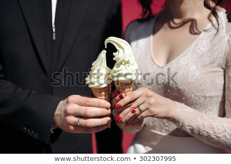 Married Lovers Eat Ice Cream on Waffle Cones Stock photo © robuart