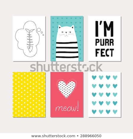 cute · affiche · carte · de · vœux · modernes · design · drôle - photo stock © Lady-Luck