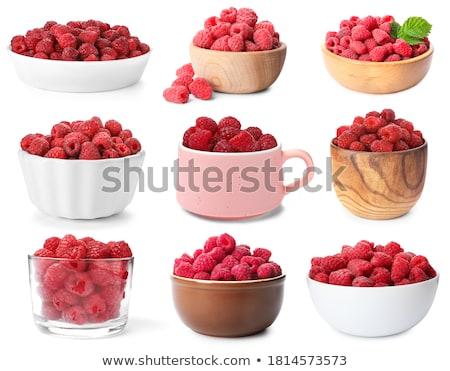 cup of ripe raspberries stock photo © karandaev