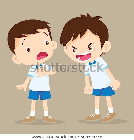 angry boy screaming at friend vector isolated illustration stock photo © pikepicture