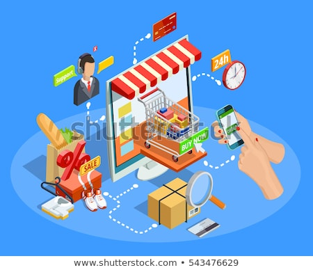 online shopping poster mobile phone and basket stock photo © robuart