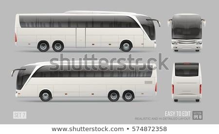 turist · otobüs · ikon · görmek · gri - stok fotoğraf © yurischmidt
