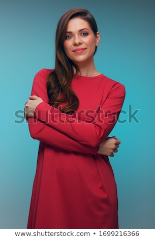 Csinos nő kék ruha nő lány modell Stock fotó © acidgrey