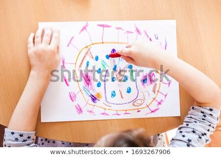 çocuklar kil boya kalemleri ev çocukluk boş Stok fotoğraf © dolgachov