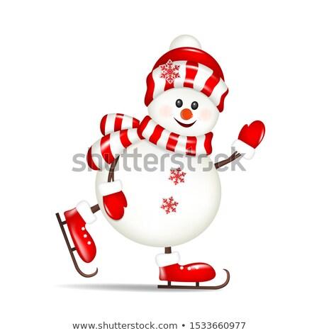 снеговик коньки изолированный фон весело Сток-фото © ori-artiste