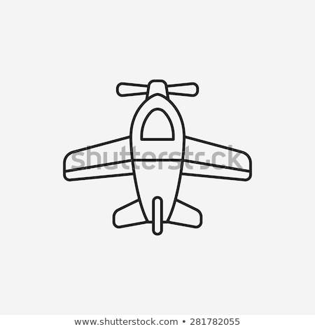 Cartoon · pequeño · avión · nubes · velocidad · rápido - foto stock © smoki