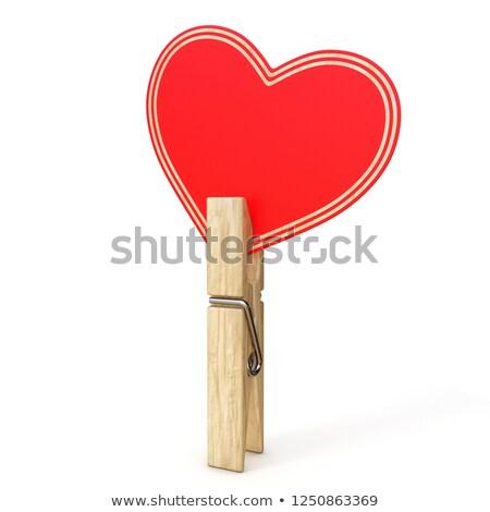 одежды Pin бумаги сердце 3D Сток-фото © djmilic