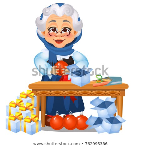 Funny animated old lady touches on Christmas decorations and gifts isolated on white background. Ske Stock photo © Lady-Luck