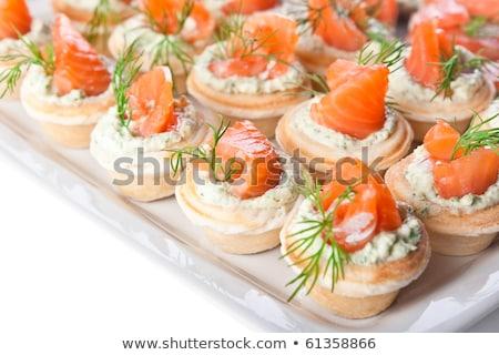 canape with cream and salmon Stock photo © M-studio