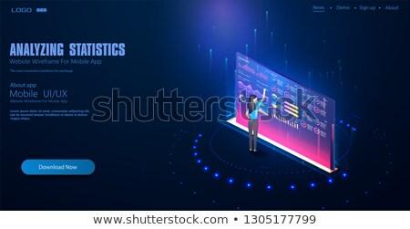 analista · monitor · de · computador · mulher · informação · dólar · bitcoin - foto stock © rastudio
