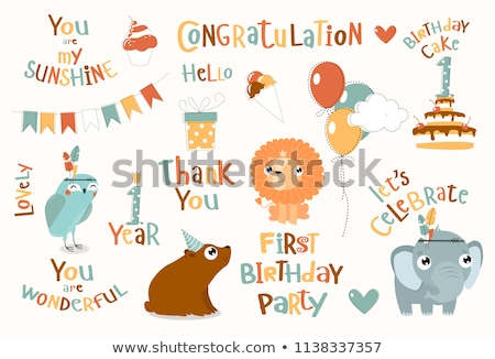 Kids at birthday party with phrase let's celebrate Stock photo © colematt