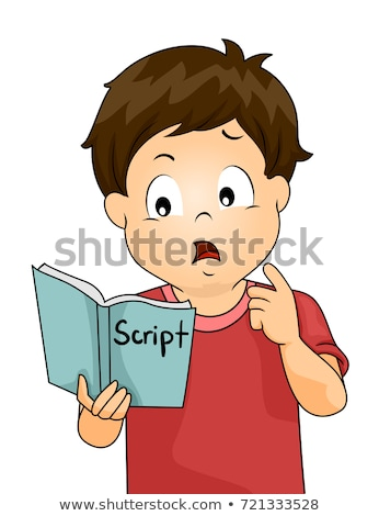 Kid Boy Confuse Memorize Script Illustration Stock photo © lenm