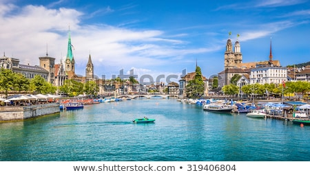 Zurich, Switzerland - view of the Grossmunster church Stock photo © lightpoet