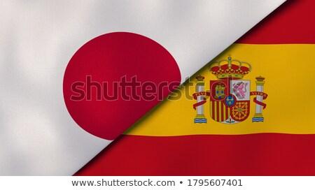 Dois bandeiras Japão Espanha isolado Foto stock © MikhailMishchenko