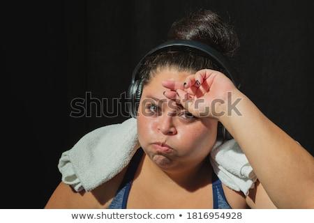 Foto stock: Retrato · chateado · excesso · de · peso · mulher · da · aptidão