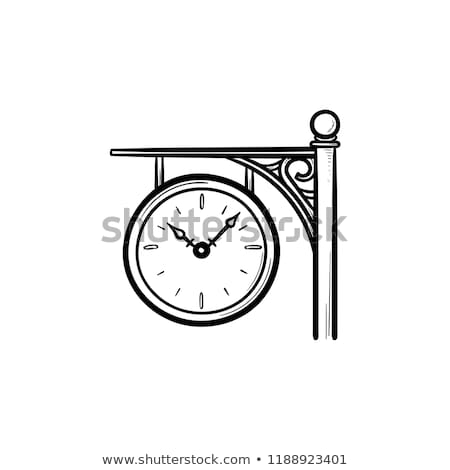 stazione · ferroviaria · clock · sketch · icona · vettore · isolato - foto d'archivio © rastudio